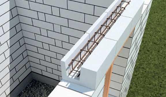 Как сделать армопояс под односкатную крышу?
