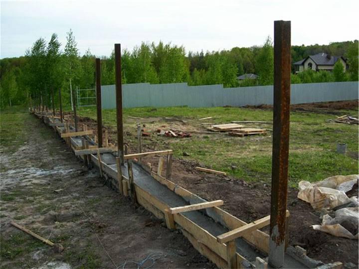 Ленточный фундамент под забор из профнастила - фундамент своими руками
