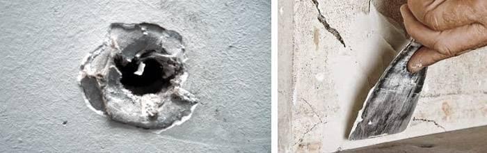 Как и чем заделать дыру в стене, потолке