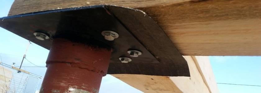 Нижняя обвязка каркасного дома на столбчатом фундаменте