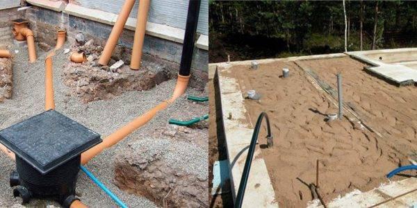 Прокладка канализации под фундаментом: отверстие в фундаменте