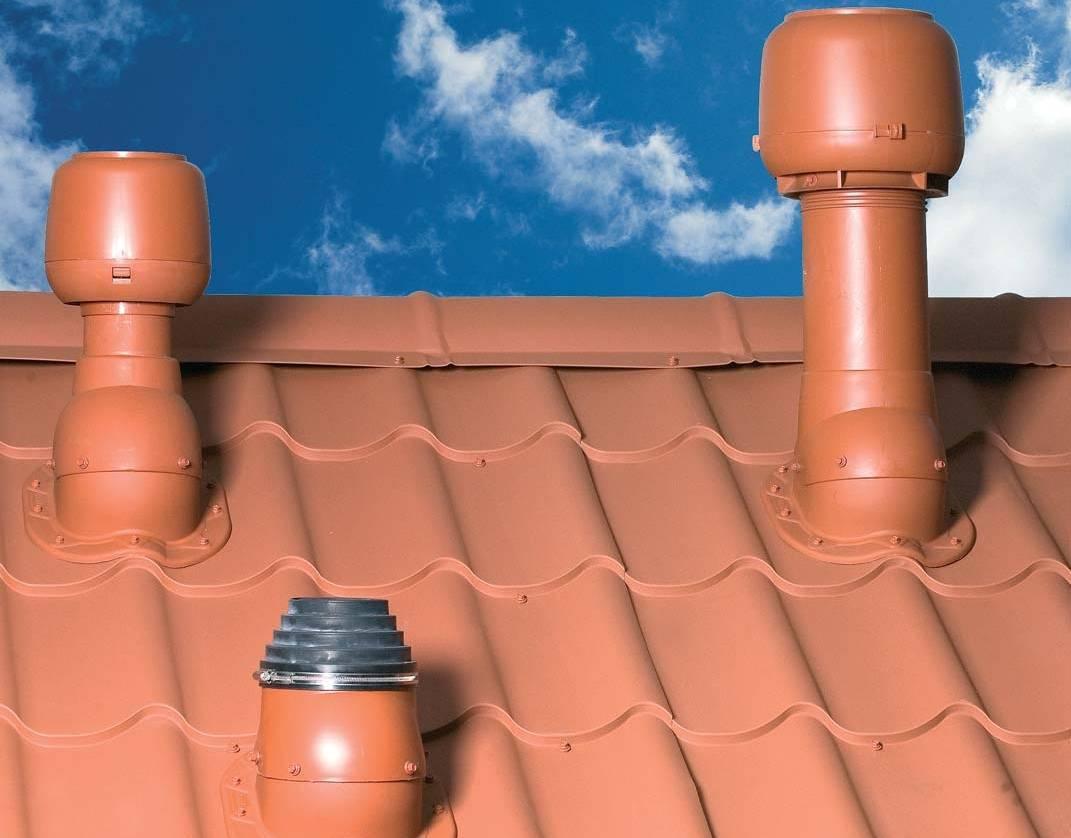 Вентиляционный выход для металлочерепицы, какую высоту трубы выбрать, как установить колпак, кровельный вентилятор и грибок на крышу, инструкции на фото и видео