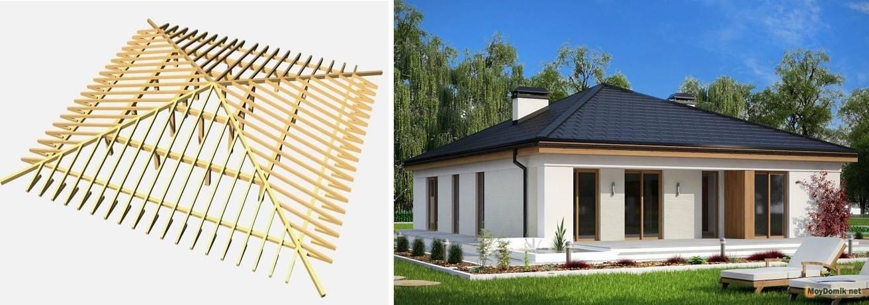 Устройство четырехскатной крыши: чертежи, фото, технология строительства кровли дома и беседки своими руками и как сделать правильно монтаж стропильной системы?
