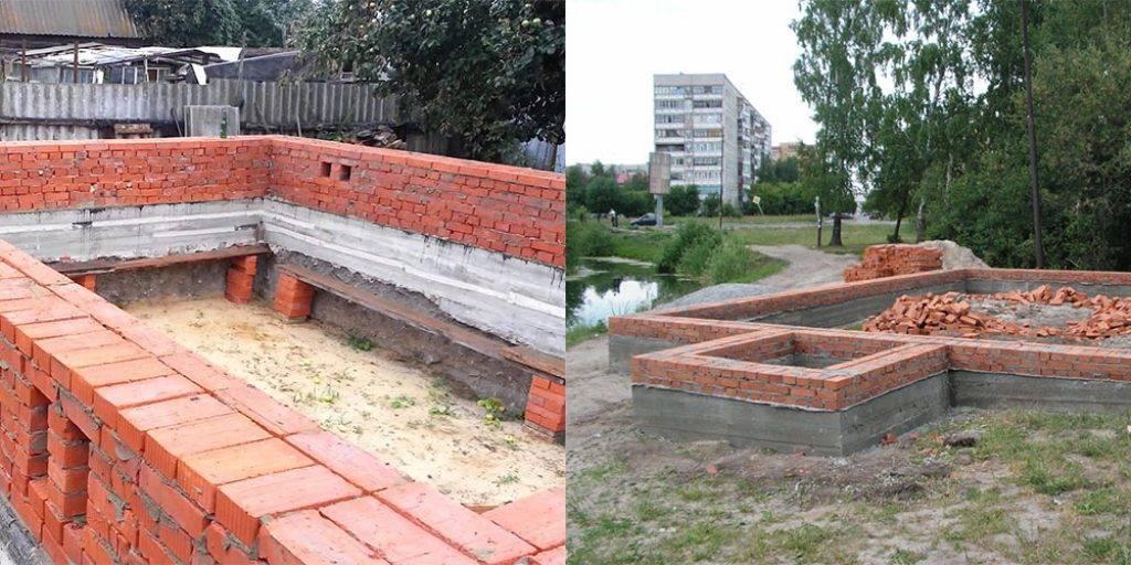 Кирпичный фундамент: область применения, этапы строительства и варианты оформления (105 фото)