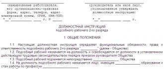 Образец должностной инструкции стропальщика 2021 года