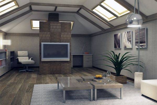 Красивая и современная отделка мансарды с ломаной крышей + фото примеров работ