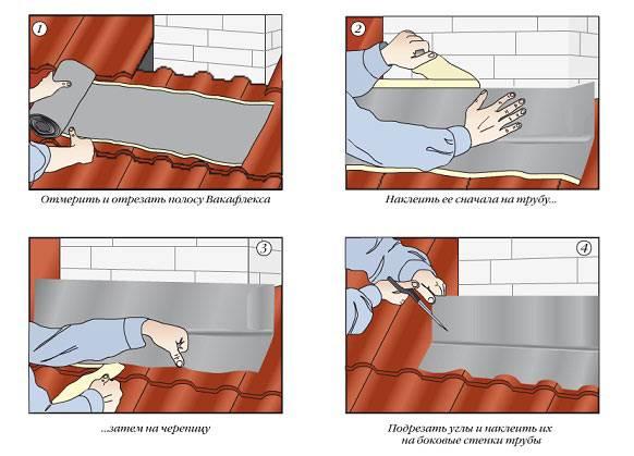 Средства для герметизации печной трубы на крыше из профнастила
