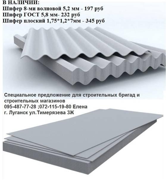 Шифер плоский - размеры листа, толщина и гост материала