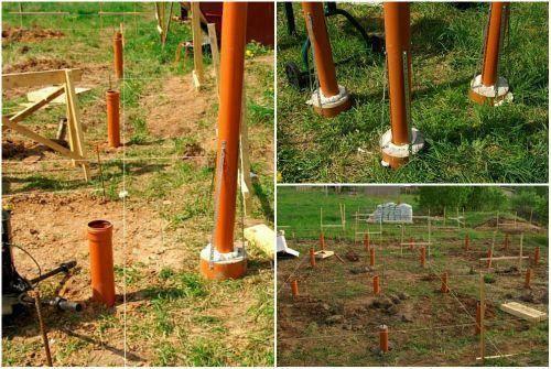Фундамент столбчатый из пластиковых труб | фундамент из пвх труб наружной канализации (оранжевые))