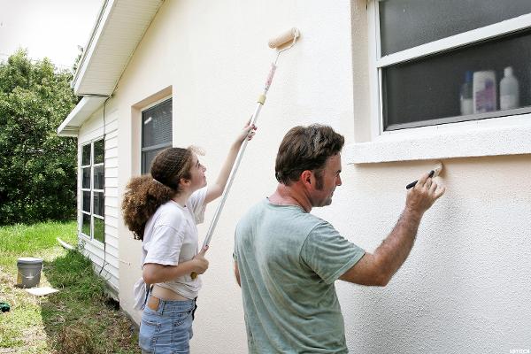 Фасадная краска для наружных работ по штукатурке, бетону, кирпичу