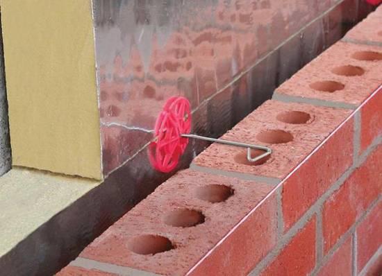 Гибкие связи для газобетона и облицовочного кирпича, схема монтажа