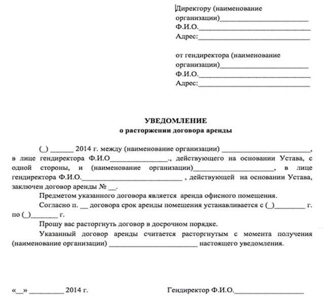 Образец расторжения договора аренды по соглашению участников