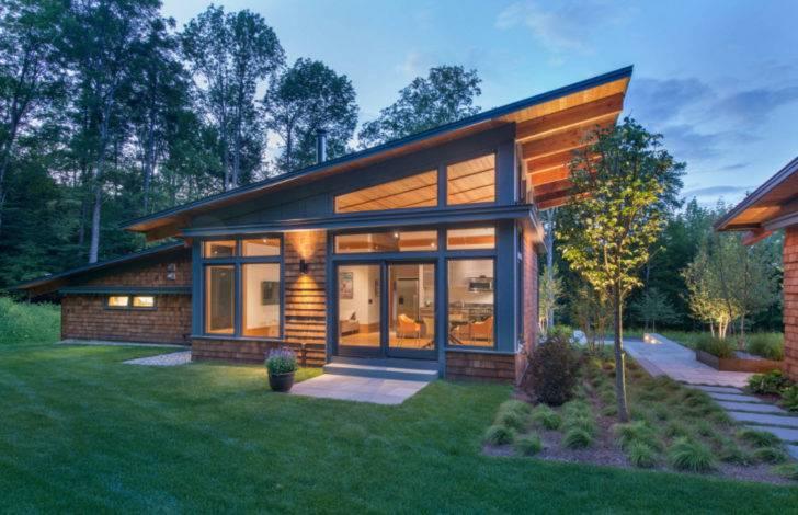 Одноэтажный дом с односкатной крышей: 100 дизайнерских решений