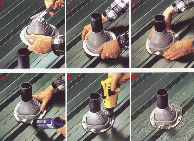 Как заделать трубу на крыше из профнастила – важные моменты герметизации кровли