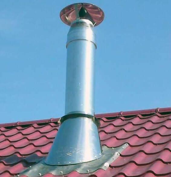 Герметизация печной трубы на крыше из профнастила своими руками