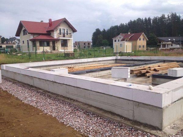 Мелкозаглубленный ленточный фундамент для дома из газобетона: ширина и кладка первого ряда