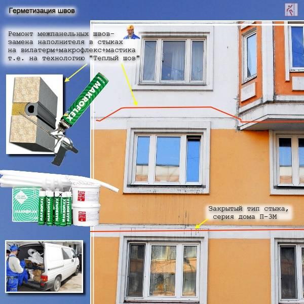 Мастика для заделки швов в панельных домах, а также герметик, монтажная пена, уплотнитель и другие материалы для замазки щелей снаружи и изнутри