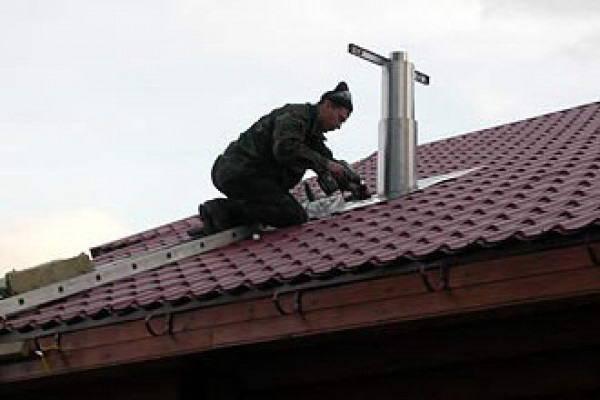 Печная труба на крыше: установка, вывод через крышу дома, как правильно закрепить, вывести, монтаж