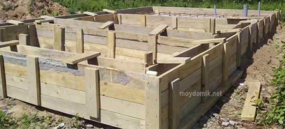 Свайно-ленточный фундамент из газобетона