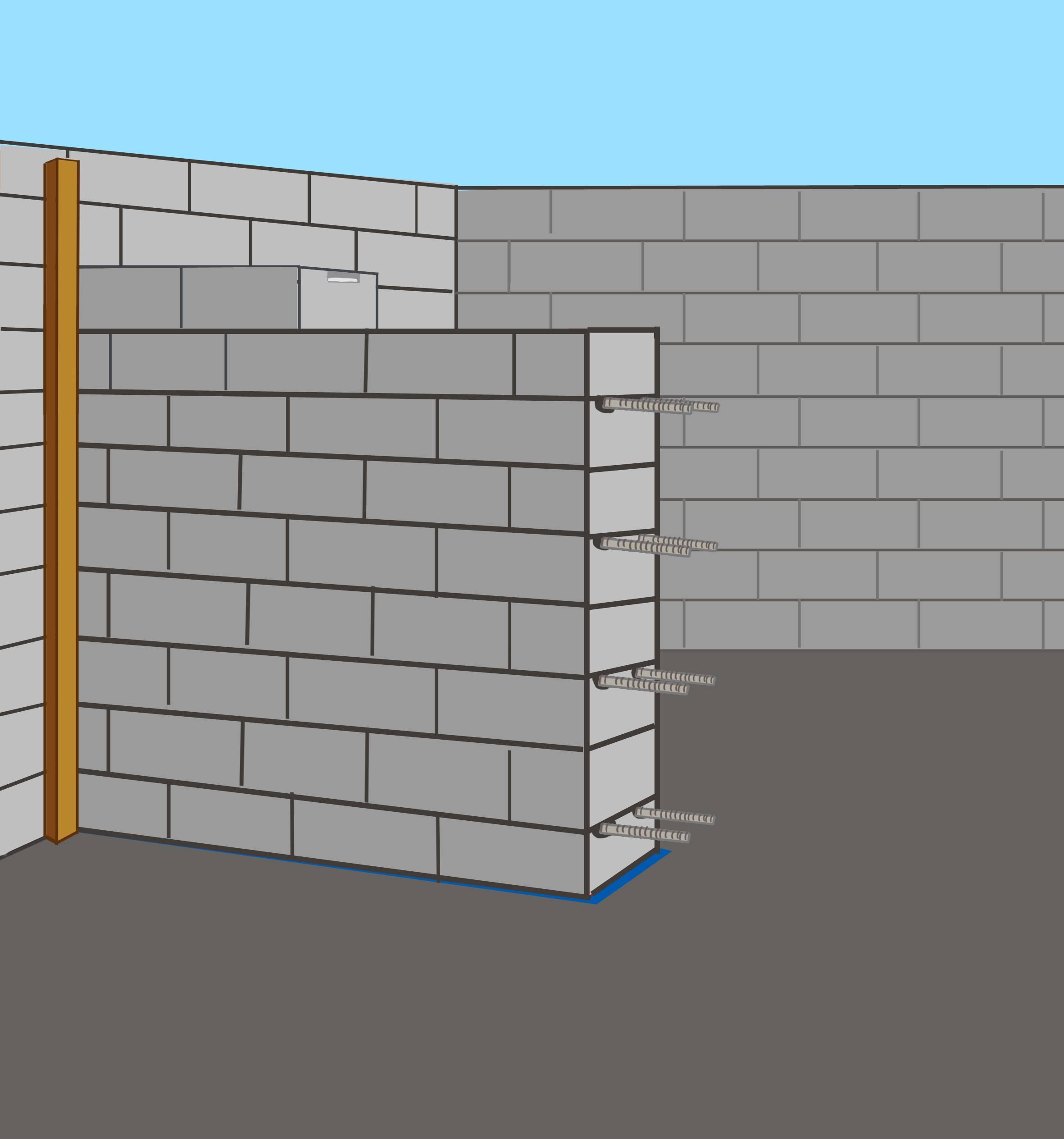 Армирование кирпичной кладки: вертикальное, продольное и поперечное