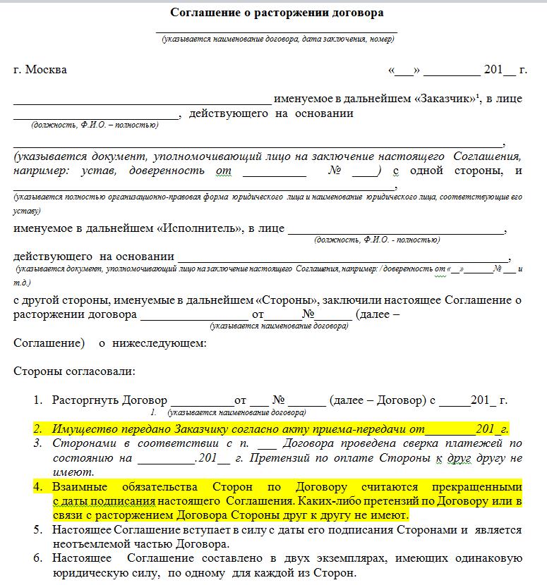 Соглашение о расторжении договора аренды нежилого помещения: образец этого документа, письма к нему и уведомления, а также бланки, которые можно скачатьсвоё