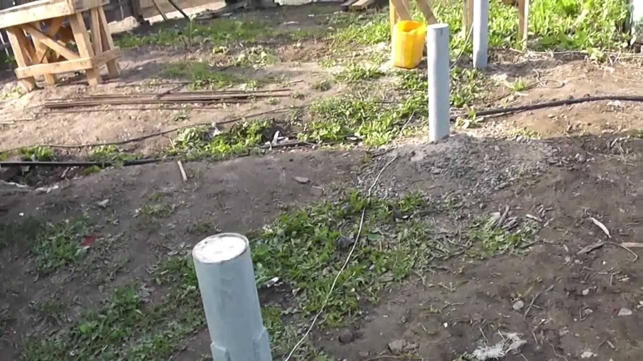 Столбчатый фундамент из асбестоцементных труб под легкое здание