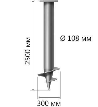 Винтовые сваи 108: особенности элементов для фундамента, где применяется, цены при длине 1500, 2000, 2500 и других размерах