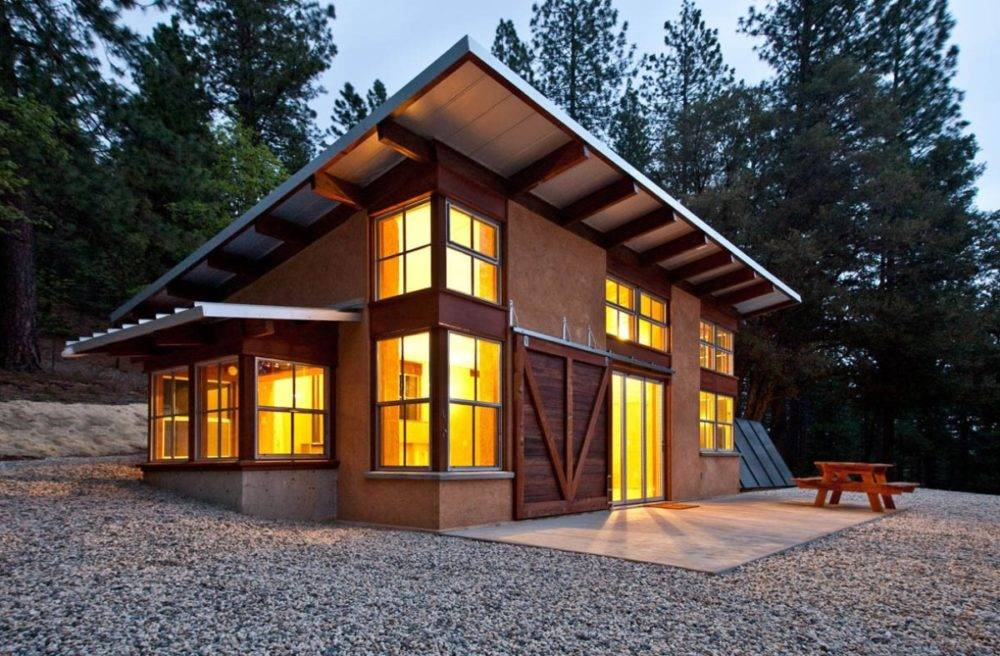 Проекты одноэтажных домов с односкатной крышей (48 фото): каркасное сооружение с крышей площадью до 100 м2, из бруса и дачный домик метражом 6х6, с односторонней низкой кровлей